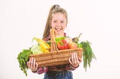 Kindheit in der Landschaft Kinderlandwirt mit wei?em Hintergrund der Ernte M?dchenkinderrustikale Art mit Fallernte Kind stockfotografie