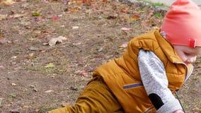 Kindheit, kleiner Junge spielt mit dem kleinen Baumast, der auf dem Boden mit gelben Blättern im Herbstpark sitzt stock video footage