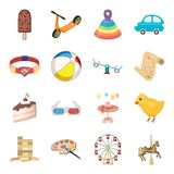 Kindheit, Unterhaltung und Spiel, Nachtisch, Spielzeug Vector gesetzte Sammlungsikonen der Baby-Unterhaltung in der Karikaturart  Lizenzfreie Stockfotos