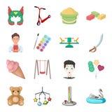 Kindheit, Unterhaltung und Spiel, Nachtisch, Spielzeug Vector gesetzte Sammlungsikonen der Baby-Unterhaltung in der Karikaturart  Stockbild