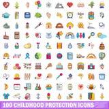 100 Kindheitsschutzikonen eingestellt, Karikaturart Stockfoto