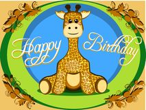 Kindische Glückwunschkarte einer netten angefüllten Giraffe, die für Kinder mit gelbem und grünem Vektor sitzt vektor abbildung