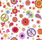 Kindische Tapete mit Hippiefriedenssymbol, flower power, Mohnblumen, Schmetterling, Pilz und Paisley lizenzfreie abbildung