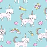 Kindisches nahtloses Muster mit nettem Katzeneinhorn Kreative Beschaffenheit für Gewebe vektor abbildung