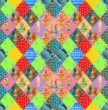 Kindisches nahtloses Patchworkmuster Feenhaftes steppendes Design Lizenzfreie Stockbilder