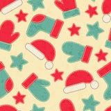 Kindisches Weihnachtsnahtloses Muster mit Santa Claus-, Weihnachtsbäumen und Ren lizenzfreie abbildung