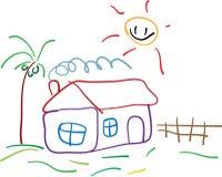 Kindisches Zeichnungshaus Lizenzfreie Stockfotos