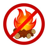 Kindle fire is prohibited. Kindle bonfire prohibited sign vector Royalty Free Stock Images