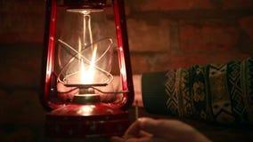 Kindle kerosene  lamp stock footage