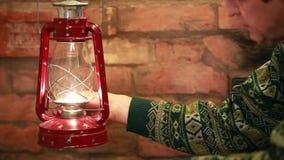 Kindle kerosene  lamp stock video footage
