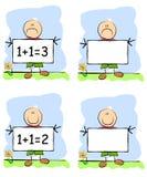 Kindliche Zeichnungs-Kind-Holding-Zeichen Stockfotos