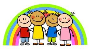Kindliche Zeichnungs-Regenbogen-Kinder Lizenzfreies Stockbild
