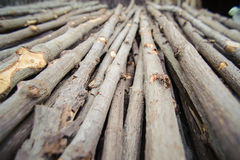 Kindling or fire wood is stacked Royalty Free Stock Image
