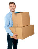 Kindly accept the delivery of boxes Royalty Free Stock Images