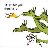 Kindly dragon. Illustration - Happy Dragon gives flower stock illustration