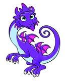 Kindly dragon. Cartoon kindly purple dragon on the white background Royalty Free Stock Photos