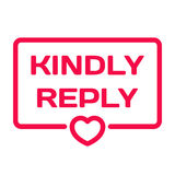 Kindly Reply flat icon. Wedding dialog bubble heart stamp Royalty Free Stock Photos