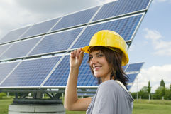 Kindly woman with helmet stock photography