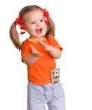 Kindmädchen mit Dollarbanknote. Stockbild