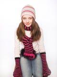 Kindmeisje met de winterkleren Stock Afbeeldingen