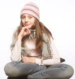 Kindmeisje met de winterkleren Stock Fotografie