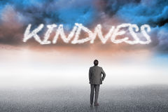 Kindness against cloudy landscape background Royalty Free Stock Photo