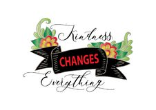 Kindness changes everything. Calligraphy Inspirational quote Stock Photos