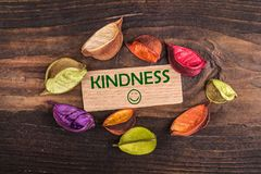 Kindness with happy face. In wooden card with dried flower on wood Stock Images