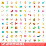 100 kindness icons set, cartoon style. 100 kindness icons set in cartoon style for any design illustration royalty free illustration
