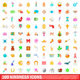 100 kindness icons set, cartoon style. 100 kindness icons set in cartoon style for any design vector illustration Stock Images