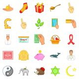 Kindness icons set, cartoon style. Kindness icons set. Cartoon set of 25 kindness vector icons for web isolated on white background Stock Photo