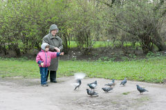 Kindness lesson. Granddaughter and grandmother are feeding pigeons Royalty Free Stock Photos