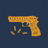 Kindness is My Weapon Abstract Retro Vector Card, Label or Logo Template. Royalty Free Stock Image