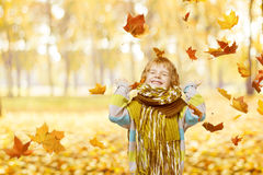Kindportret in Autumn Park, die Weinig Jong geitje het Gelukkige Spelen glimlachen Stock Fotografie