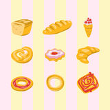 Kinds of bakery products Royalty Free Stock Photos