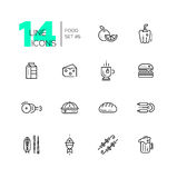 Kinds of Food Line Icons Set Royalty Free Stock Images