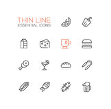 Kinds of Food Line Icons Set Stock Photo