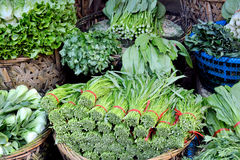 Kinds of green leaf vegetable in market Royalty Free Stock Images