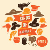 Kinds of headwear. Part 1 Royalty Free Stock Photo