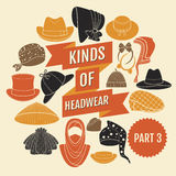 Kinds of headwear. Part 3 Stock Image