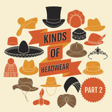 Kinds of headwear. Part 2 Stock Photography