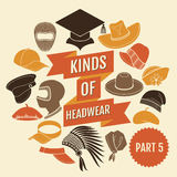Kinds of headwear. Part 5 Stock Photos