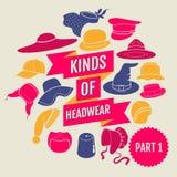 Kinds of headwear. Part 1 Stock Photos