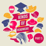 Kinds of headwear. Part 5 Royalty Free Stock Image