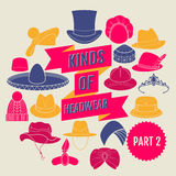 Kinds of headwear. Part 2. Flat icons Royalty Free Stock Image