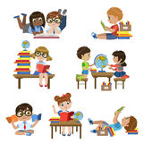 Kinds In Library Set Stock Image