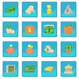 Kinds of money icon blue app Royalty Free Stock Images