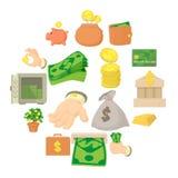 Kinds of money icons set, cartoon style. Kinds of money icons set. Cartoon illustration of 16 kinds of money vector icons for web Stock Illustration