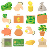 Kinds of money icons set, cartoon style. Kinds of money icons set. Cartoon illustration of 16 kinds of money vector icons for web Stock Images