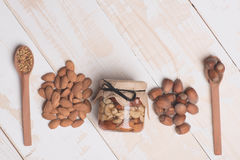 Kinds of nuts and bee pollen Stock Image
